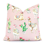 Llama and Cactus Throw Pillow Cover