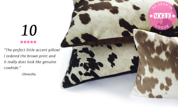 Best Selling Faux Cowhide Throw Pillow - Cow Abunga Reversible Pillow