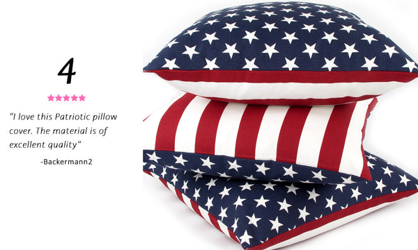 Best Selling USA Flag Throw Pillow - Red, White and Blue Reversible Pillow