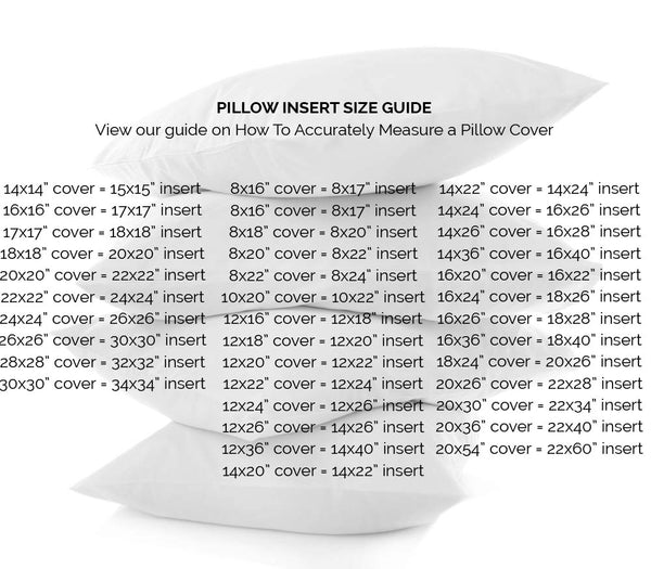 Chloe and Olive Pillow Insert Size Guide