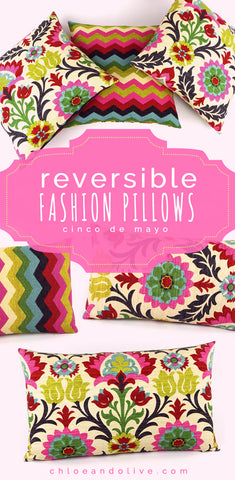 Cinco de Mayo Reversible Throw Pillows by Chloe and Olive