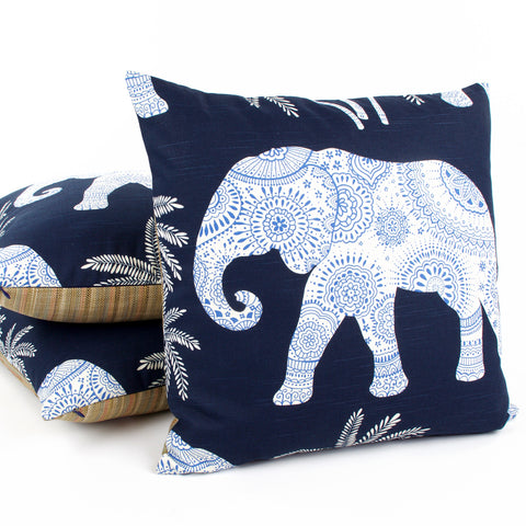 "Indigo Blue 20x20"" Elephant Decorative Pillow by Chloe & Olive"