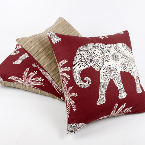 "Red Chai 20x20"" Elephant Decorative Pillow by Chloe & Olive"