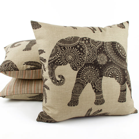 "Henna Brown 20x20"" Elephant Decorative Pillow by Chloe & Olive"