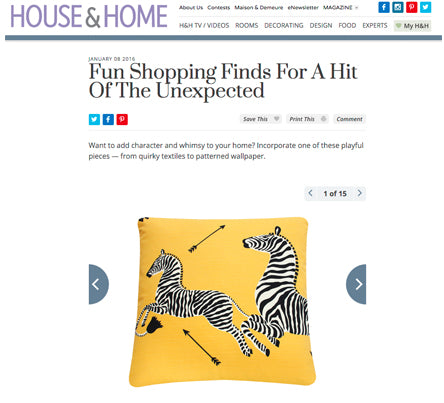 Yellow Zebra Throw Pillow in Scalamandre Fabrics as seen in House + Home - Jan 2016