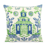 CHINOISERIE KELLY GREEN DESIGNER THROW PILLOW COVER
