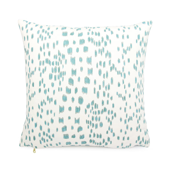 Brunschwig & Fils Les Touches Aqua Designer Throw Pillow Cover