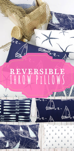 Reversible Nautical Lumbar Throw Pillows by Chloe and Olive