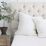 White Pom Linen Pillow Cover