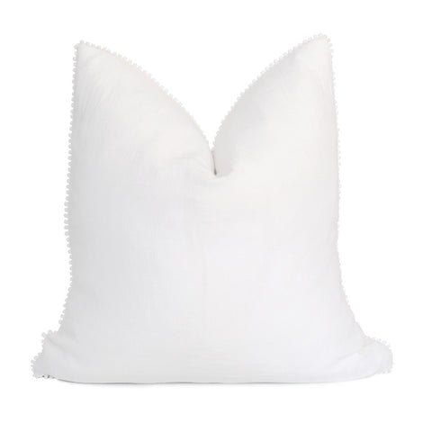 White Pom Pom Linen Pillow Cover