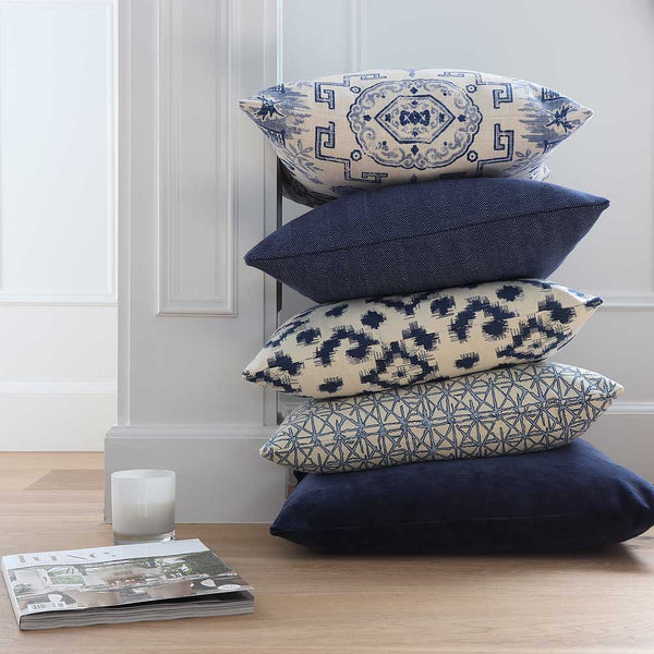 Slipcover Throw Pillows in Blue and White Geometric Prints