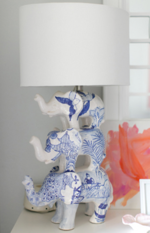 Elephant Trio Stacked Table Lamp in Blue and White