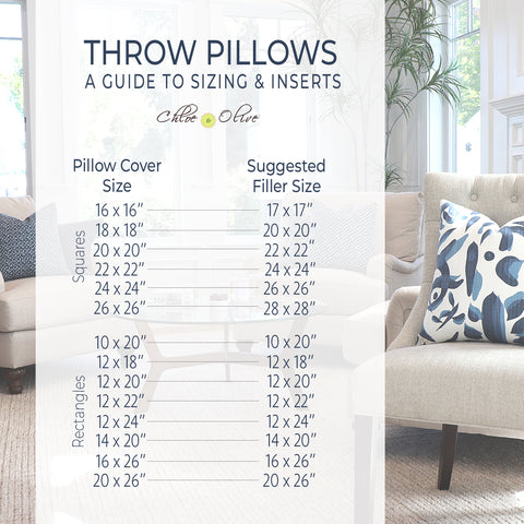 Guide to Pillow Cover Sizes and Inserts by Chloe and Olive