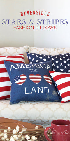 Reversible Stars and Stripes Fashion Pillows by Chloe and Olive