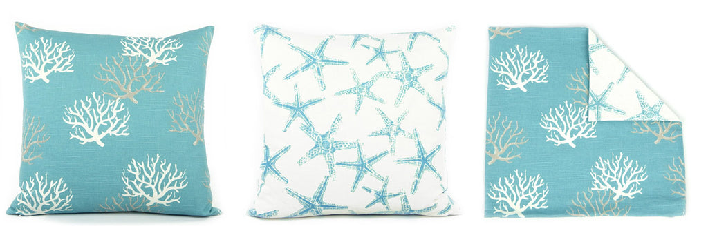 Turquoise Coral and Starfish Reversible Decorative Pillow by Chloe and Olive