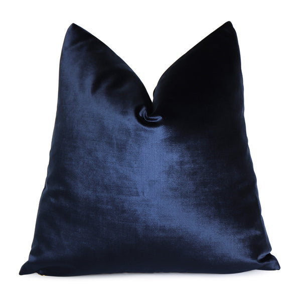 Velluto Navy Blue Velvet Throw Pillow