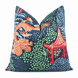 Dragon + Pagoda Navy Blue Pillow Cover