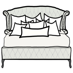 decorative throw pillow size guide for Chloe and Olive king bed