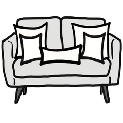 decorative throw pillow size guide for Chloe and olive loveseat