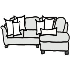 decorative throw pillow size guide for Chloe and Olive sectional sofa