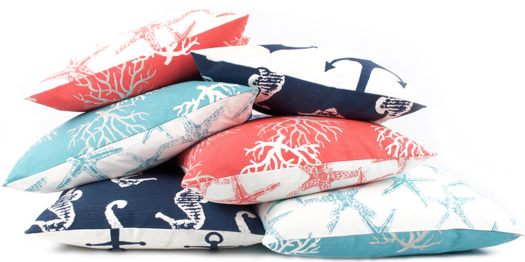 Nautical Coastal Reversible Decorative Pillows by Chloe and Olive
