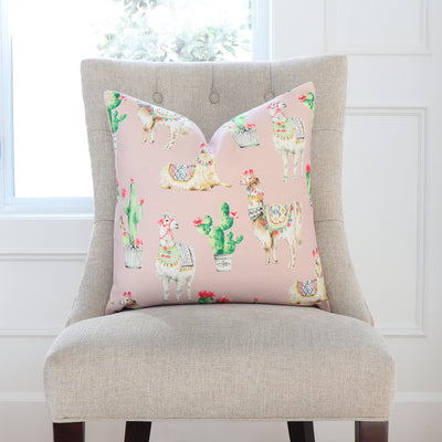 Llama and Cactus Blush Pillow Cover in Dining Chair