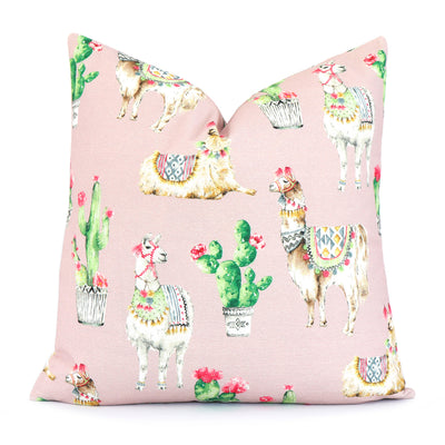Llama and Cactus Blush Throw Pillow Cover