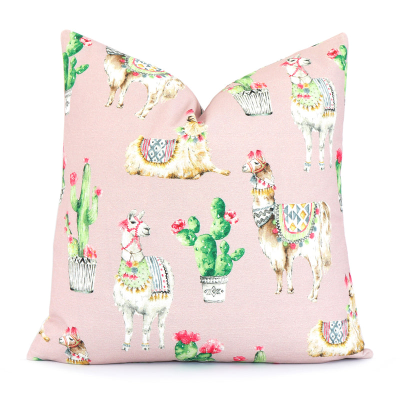 Llama and Cactus Blush Pillow Cover for Bedroom Decor