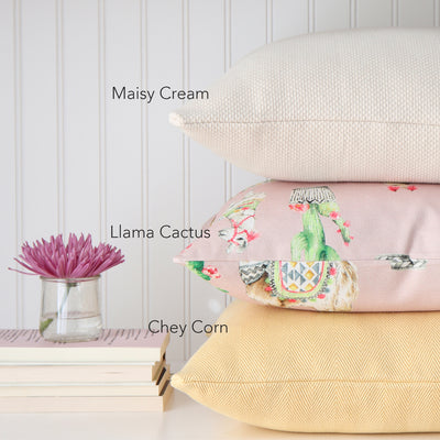Llama and Cactus Blush Pillow Cover with Complementing Throw Pillows