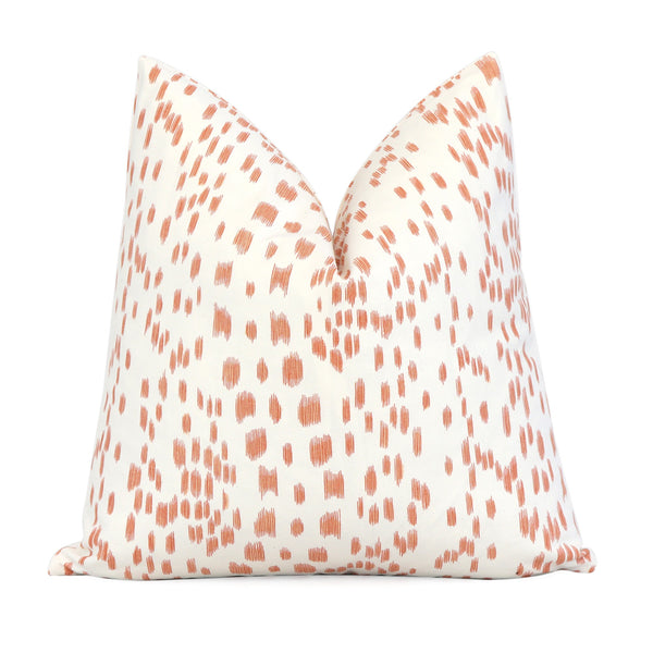 Brunschwig Fils Les Touches Tangerine Orange Spotted Throw Pillow Chloe Olive