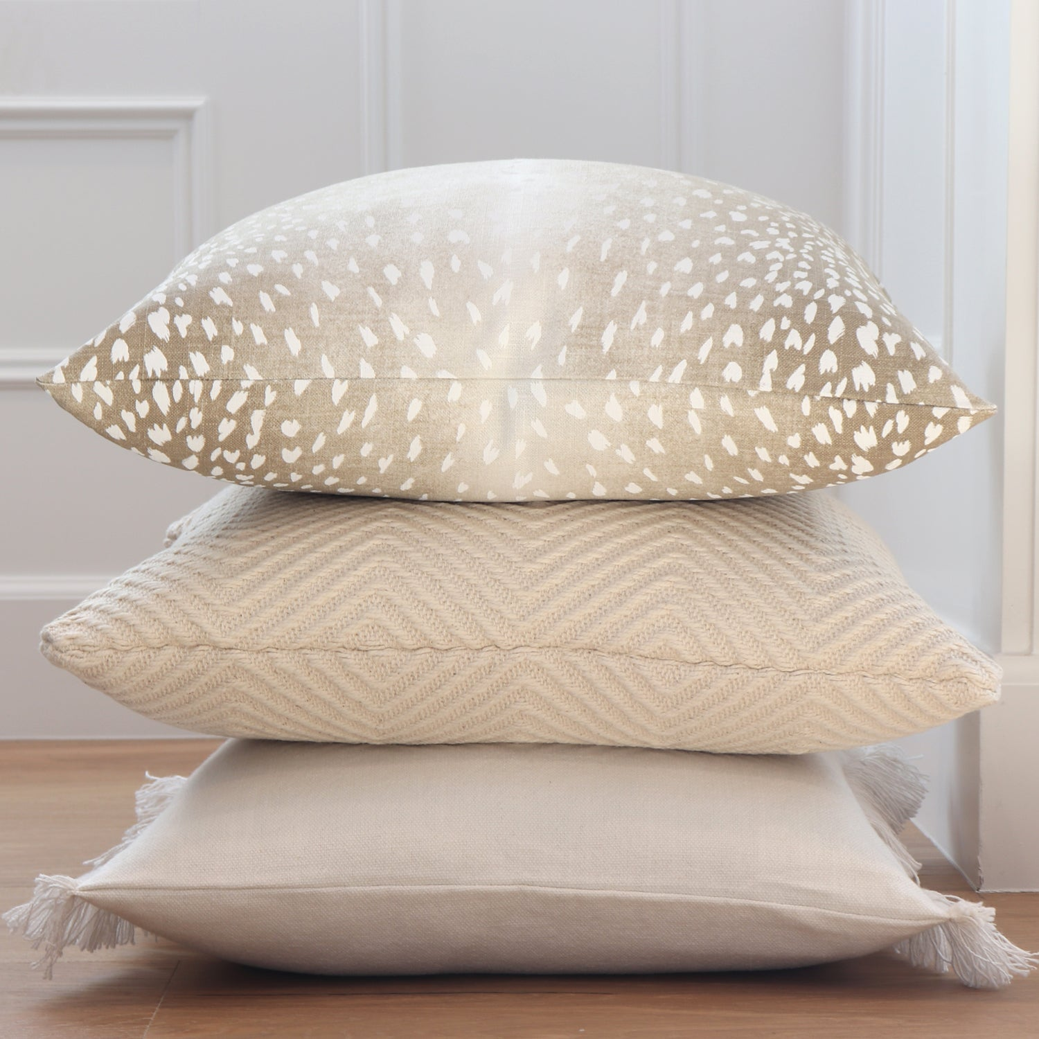 Fawn Animal Print Beige And White Throw Pillow Chloe Olive