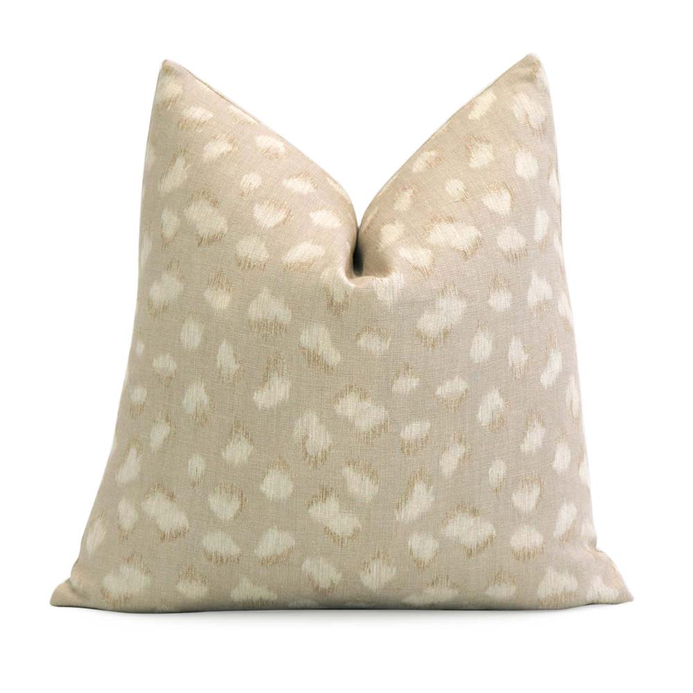 Kelly Wearstler Feline Cheetah Beige Designer Decorative Throw Pillow Cover