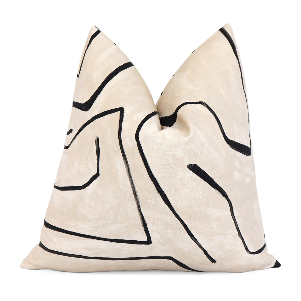 Kelly Wearstler Graffito Linen Onyx Designer Throw Pillow
