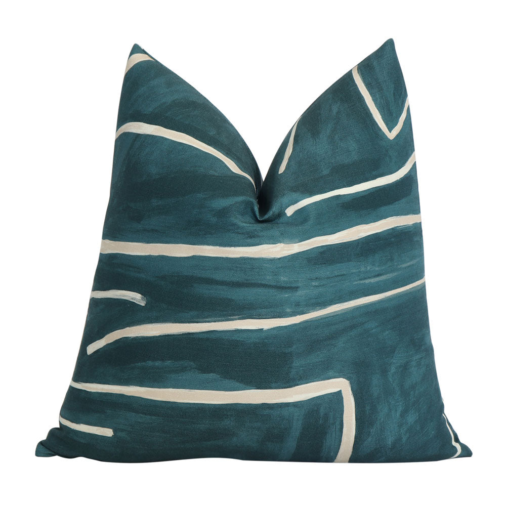 Kelly Wearstler Groundworks Graffito Teal Throw Pillow Cover
