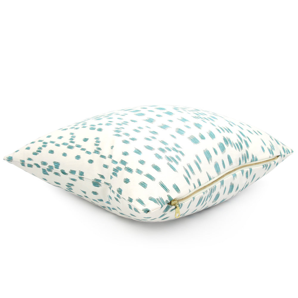 Side View ~ Les Touches Aqua Throw Pillow