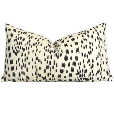 Brunschwig & Fils Les Touches Black Designer Lumbar Throw Pillow Cover