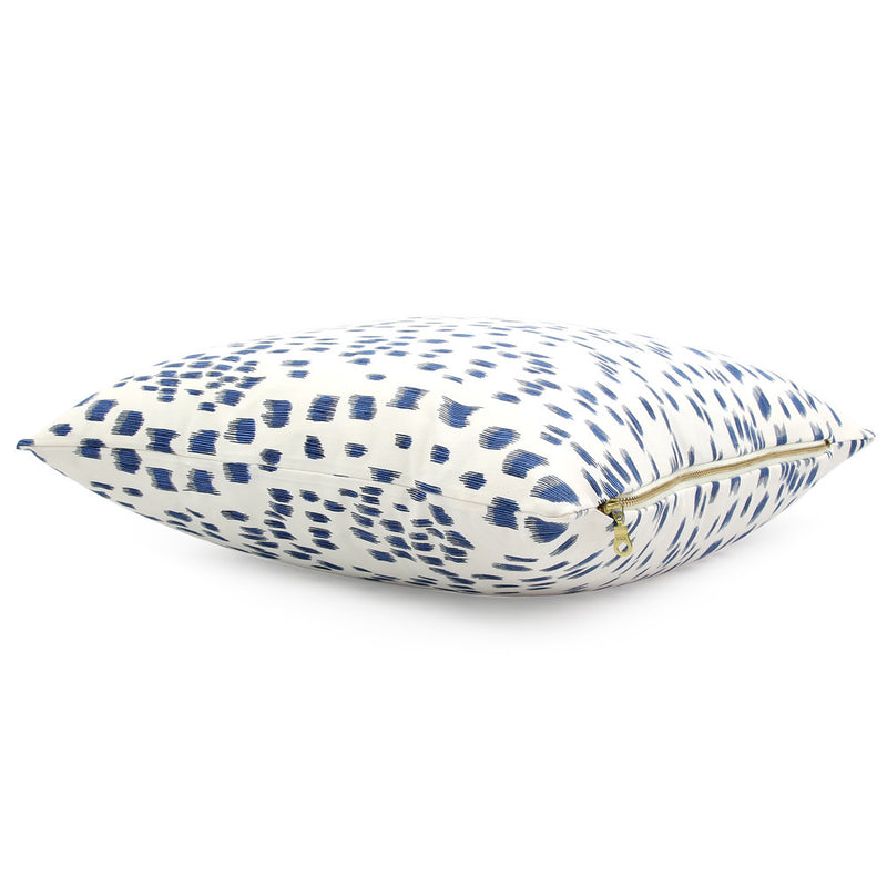 Front View Les Touches Blue Throw Pillow