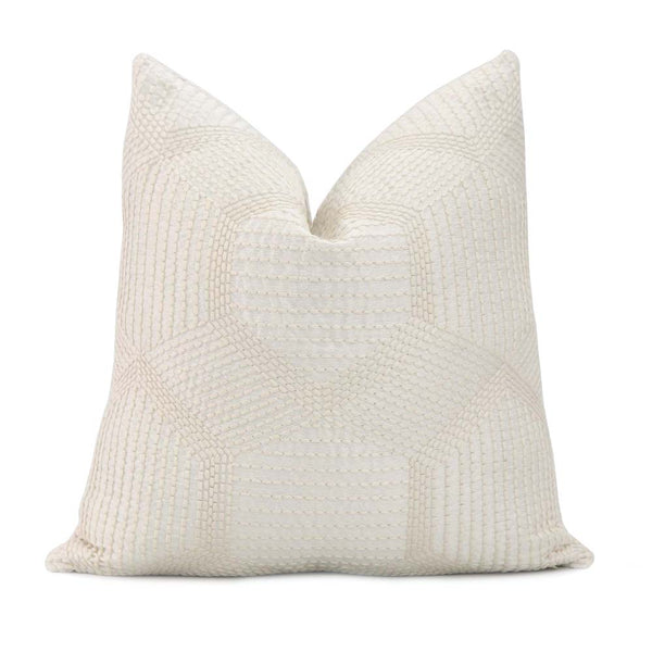 Textured Accent Toss Schumacher Embroidered Tortuga Ivory Lumbar Throw Pillow Cover with Gold Zipper Designer Neutral Cushion Case