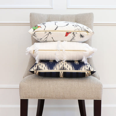 Schumacher Birds and Butterflies Multi on White Throw Pillow Cover with Matching Pillows
