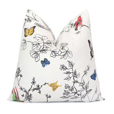 Schumacher Birds and Butterflies Multi on White Throw Pillow Cover