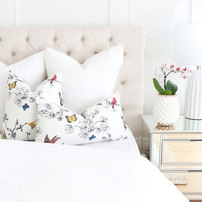 Schumacher Birds and Butterflies Multi on White Throw Pillow Cover in Bedroom