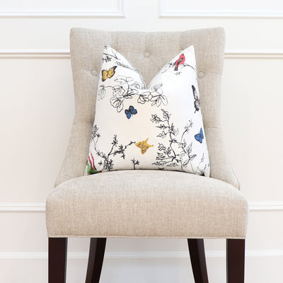 Schumacher Birds and Butterflies Multi on White Throw Pillow Cover on Accent Chair