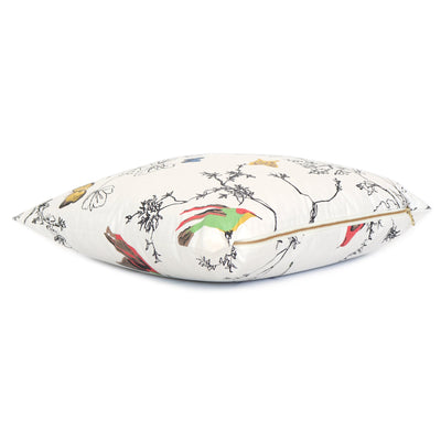 Schumacher Birds and Butterflies Multi on White Throw Pillow Cover with Zipper