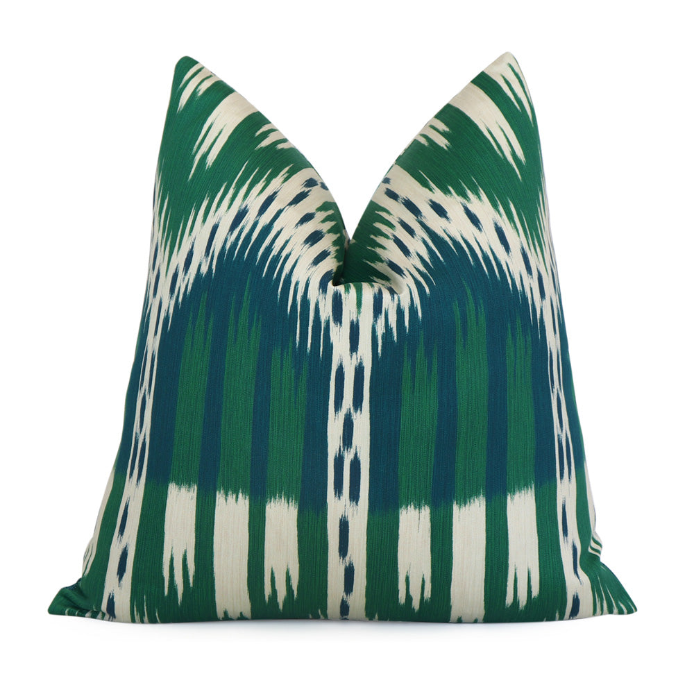 Schumacher Bukhara Ikat Emerald Peacock Designer Pillow Cover