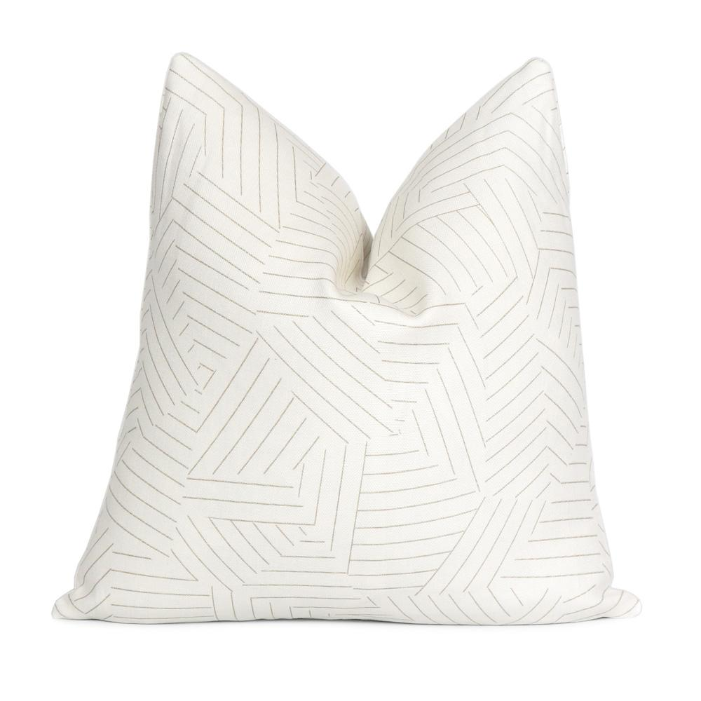Schumacher Deconstructed Stripe Greige Throw Pillow Cover