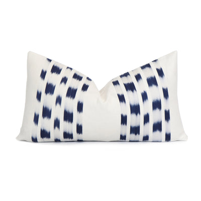 Schumacher Izmir Indigo Ikat Designer Lumbar Throw Pillow Cover