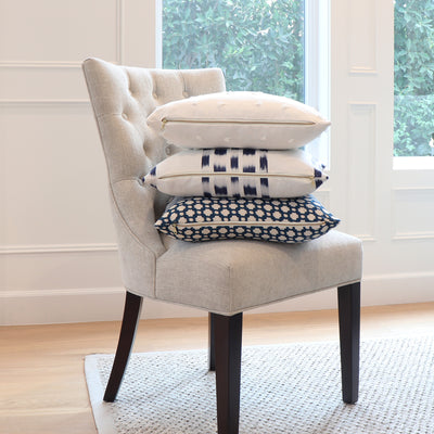 Schumacher Betwixt Indigo Designer Throw Pillow Cover with on Accent Chair
