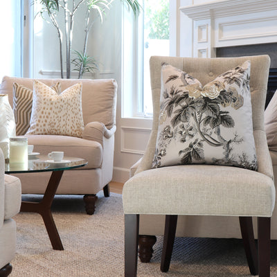 Schumacher Pyne Hollyhock Grisaille Throw Pillow Cover on Accent Chair