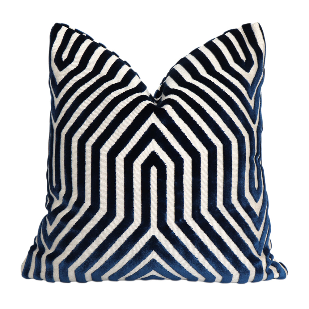 Vanderbilt Bleu Velvet Pillow Cover