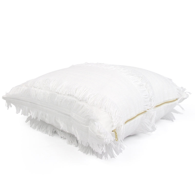 Schumacher Talos White Fringe Designer Throw Pillow Cover